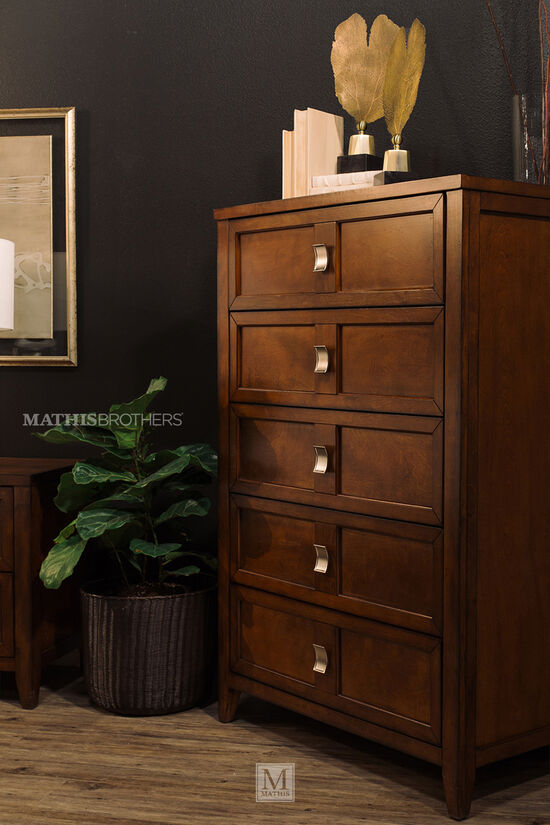 """52"""" Five-Drawer Traditional Chestin Pecan"""