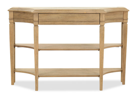 Two-Shelf Transitional Scalloped Console in Light Brown