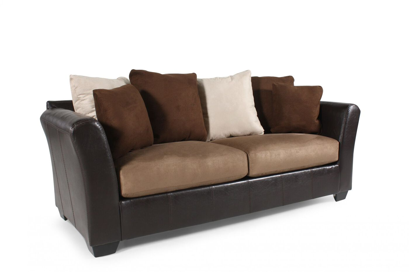 Contemporary 90 sofa in dark brown mathis brothers for 90 inch couch