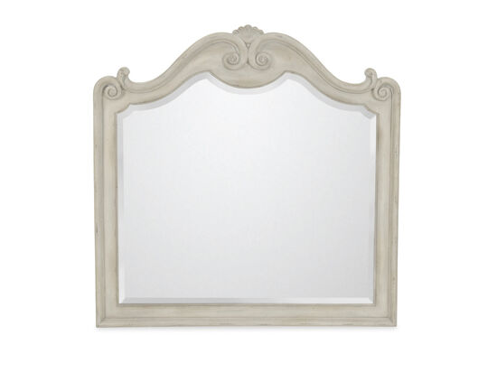 "42"" European Classic Carved Mirror in White"