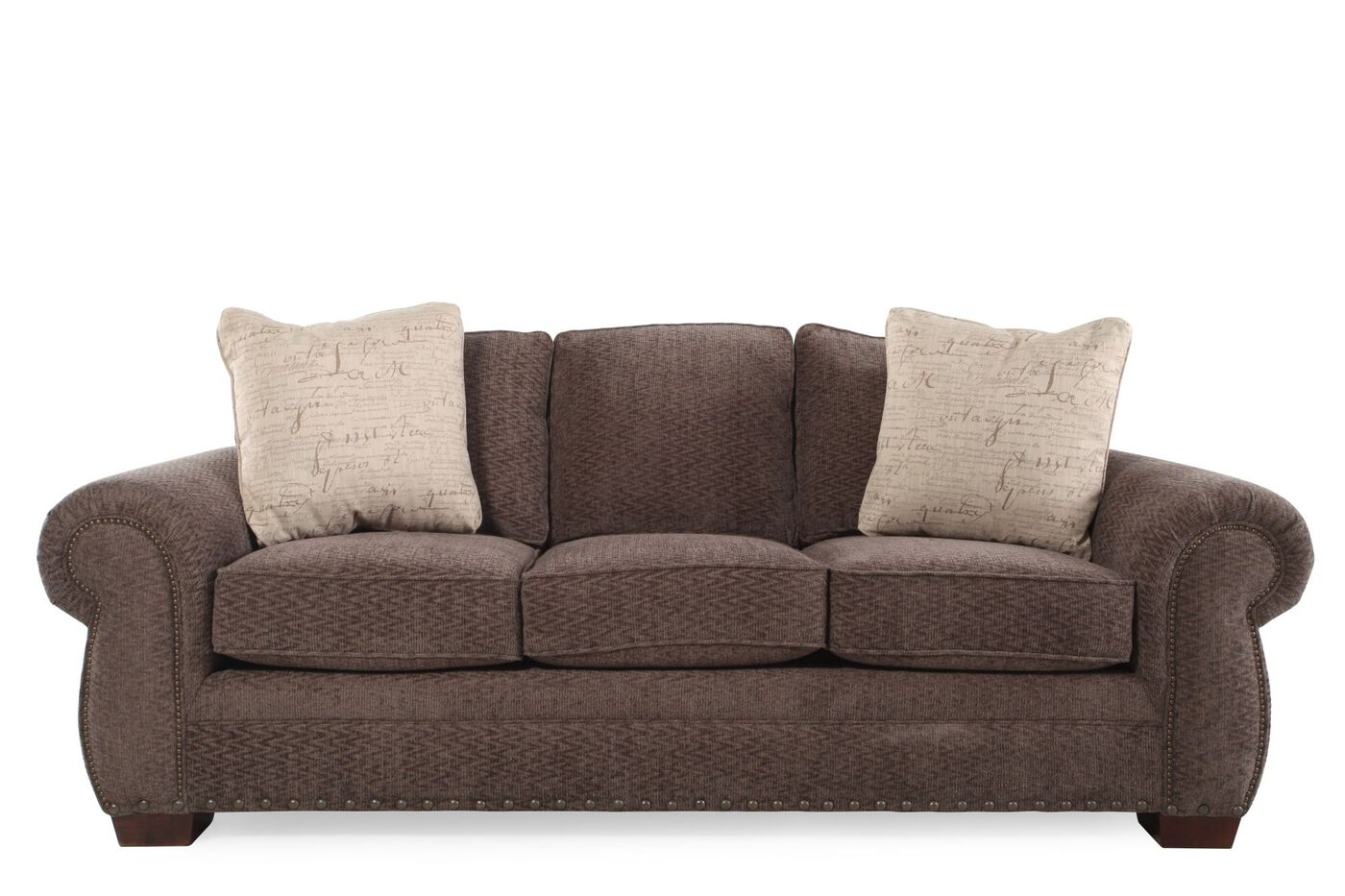 Images Nailhead Accented Microfiber 90 Sofa In Brown