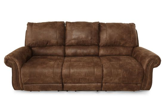 "Nailhead-Accented Microfiber 89"" Sofa in Dark Brown"