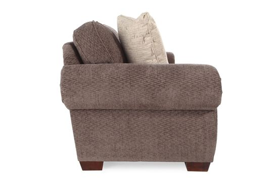 "Nailhead-Accented Microfiber 90"" Sofa in Brown"