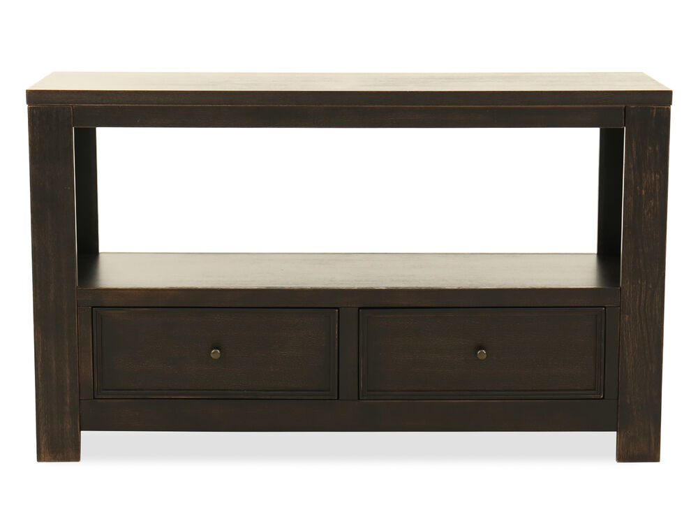 Two-Drawer Casual Console Table in Vintage Black