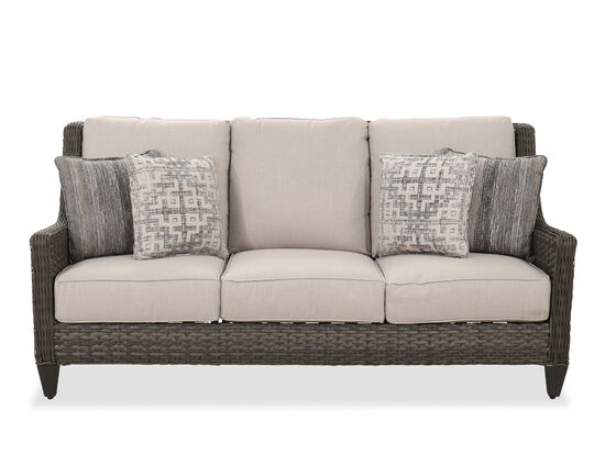 Contemporary Woven Patio Sofa in Dark Gray