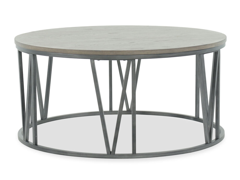 Round Wire-Brushed Casual Cocktail Tablein Gray