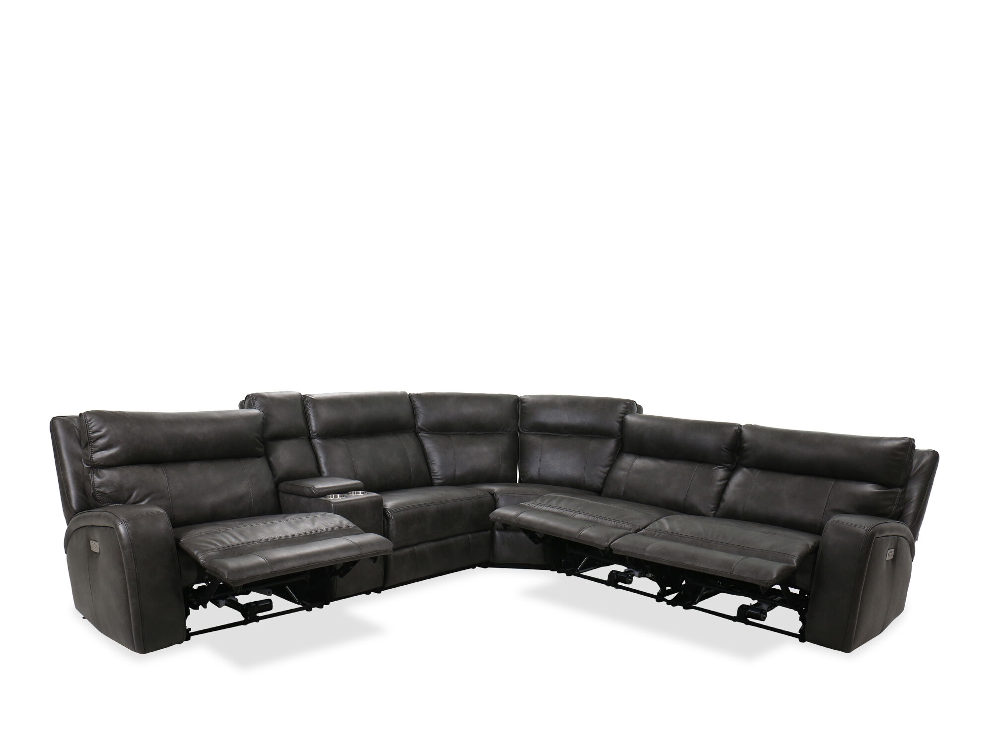 Six Piece Power Reclining Sectional In Slate Mathis Brothers Furniture