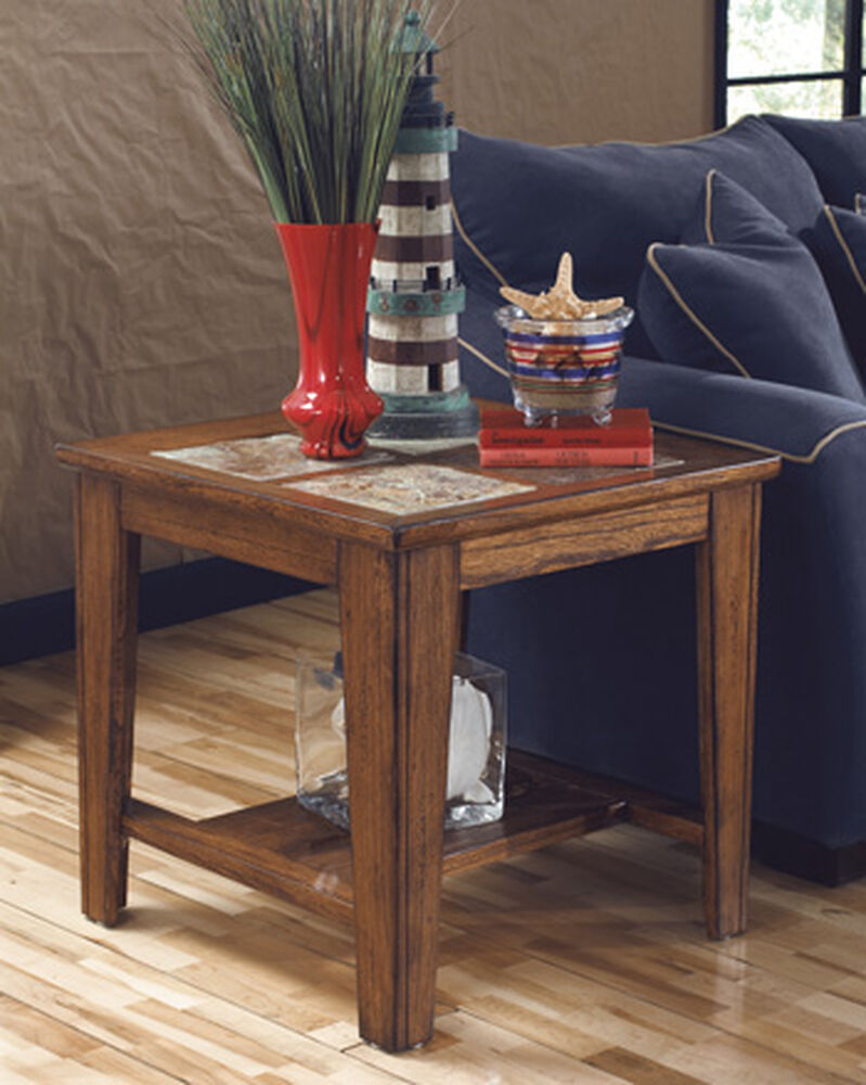 Traditional Slate Tile Inset End Table In Brown Mathis Brothers Furniture