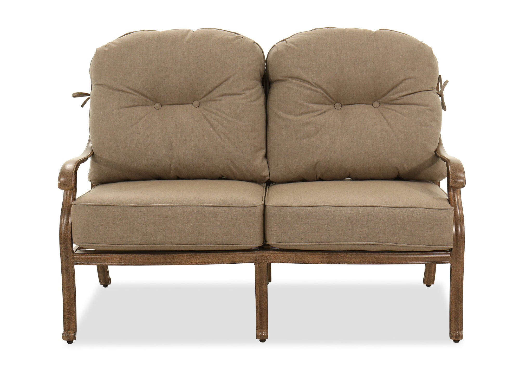 Images Aluminum High Back Loveseat In Brown