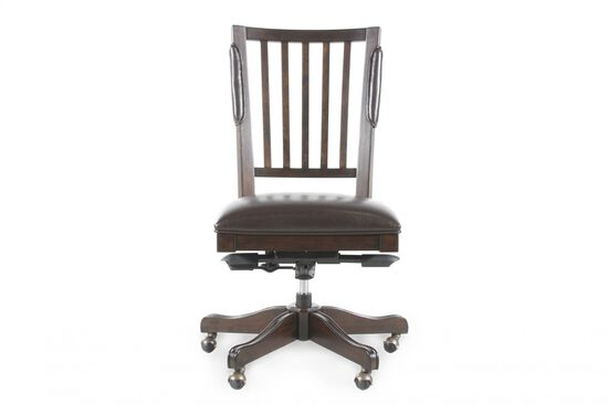 Leather Open Slat Tilt Office Chair in Molasses Brown