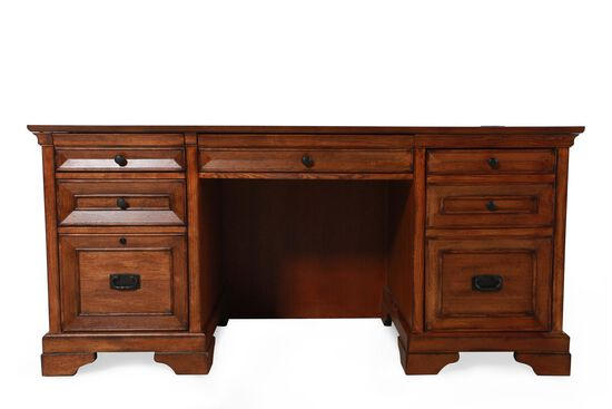 "67"" Country Three-Drawer Computer Credenza in Oak"