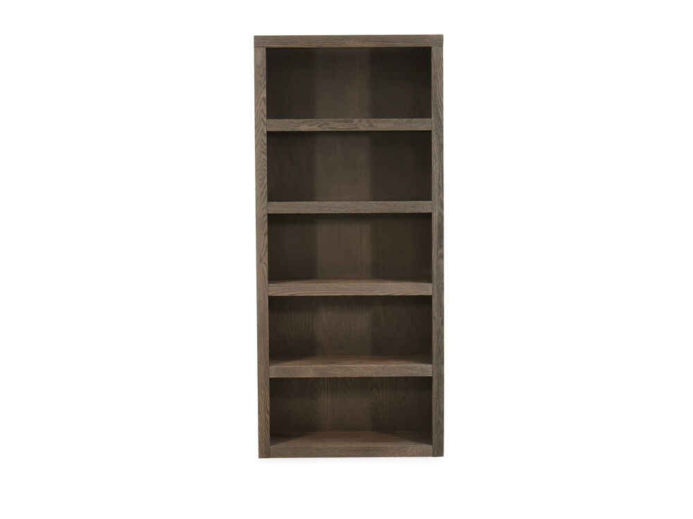 Five-Shelf Casual Open Bookcase in Medium Brown