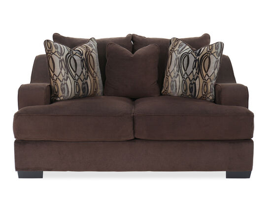 """Textured Traditional 75"""" Loveseat in Brown"""