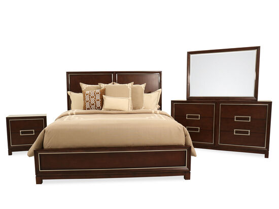Four-Piece Contemporary King Bedroom Suite in Brown