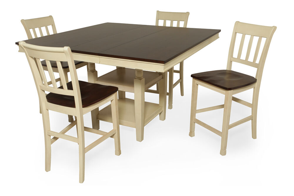 Five-Piece Height Extension Casual 54'' Pub Set in Buttermilk