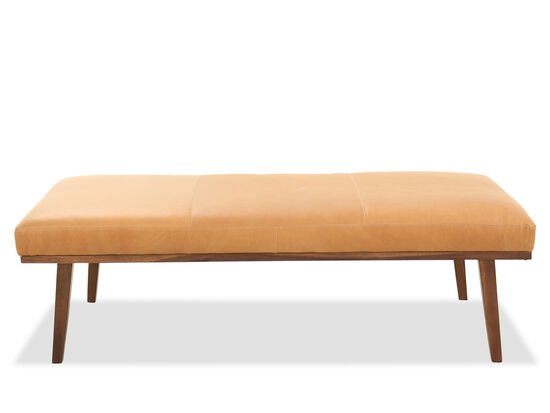 59'' Rectangular Leather Ottoman in Orange