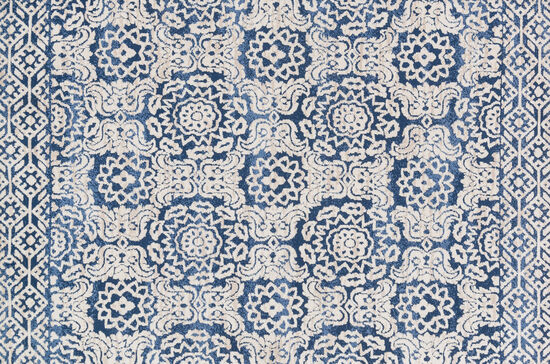 "Magnolia Home Power Loomed 5' x 7'6"" Rug in Blue/Antique Ivory"