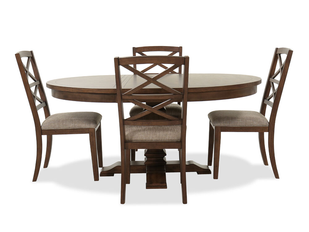 Traditional Five-Piece Dining Set with Leaf in Walnut
