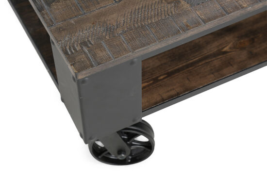 Rectangular Contemporary Wheeled Cocktail Tablein Weathered Charcoal