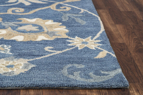 "Transitional Hand-Tufted 6'6"" x 9'6"" Rectangle Rug in Blue"