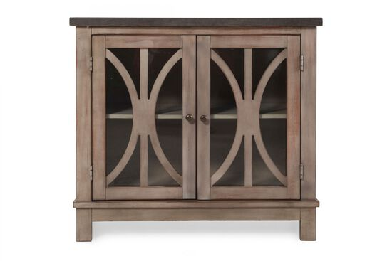 Filigree Door Accent Cabinet in Chalky Bisque