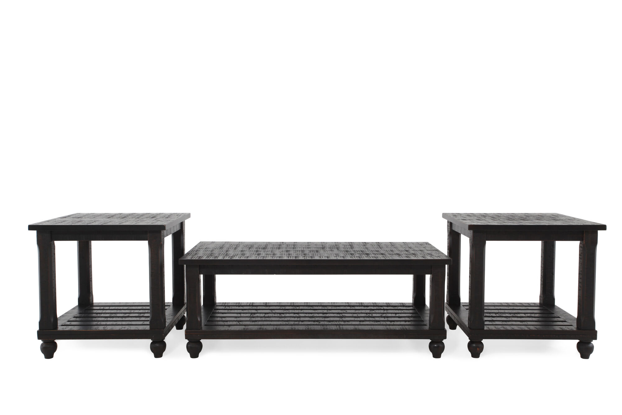 Three Piece Contemporary Cocktail Table Set In Black Mathis Brothers Furniture