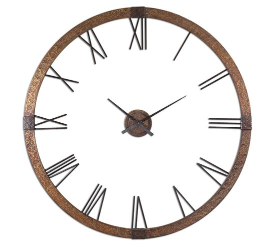 Oversized Round Wall Clock in Copper