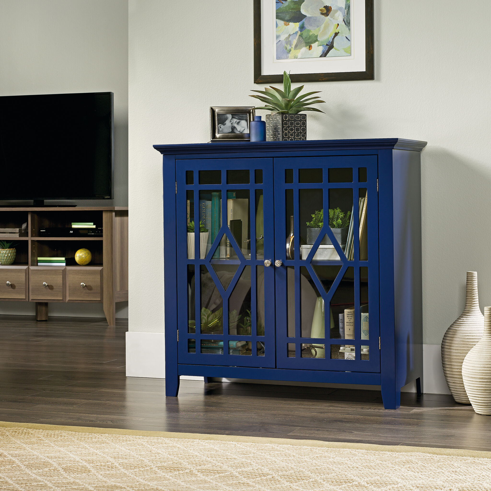36u0026#39;u0026#39; Two Door Contemporary Display Cabinet In Indigo
