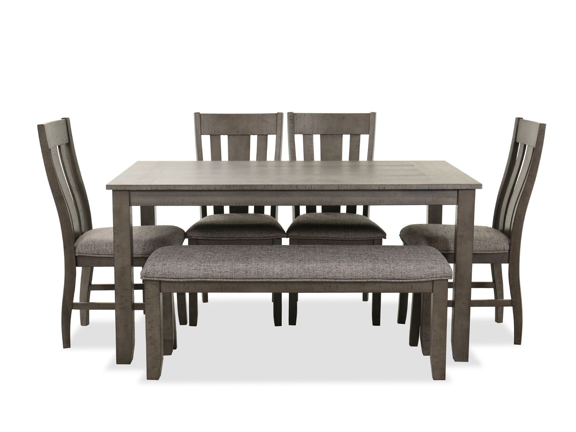 Navy And Gold Dining Room, Six Piece Traditional Dining Set In Dark Gray Mathis Brothers Furniture