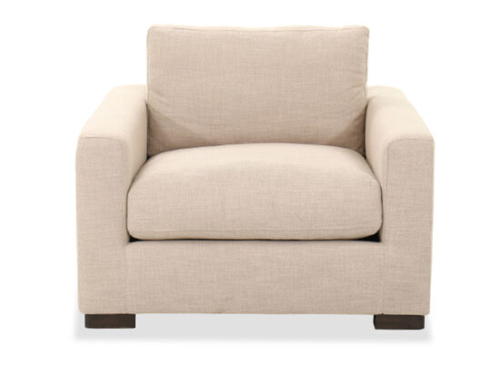 Casual Straight-Arm Chair in Beige