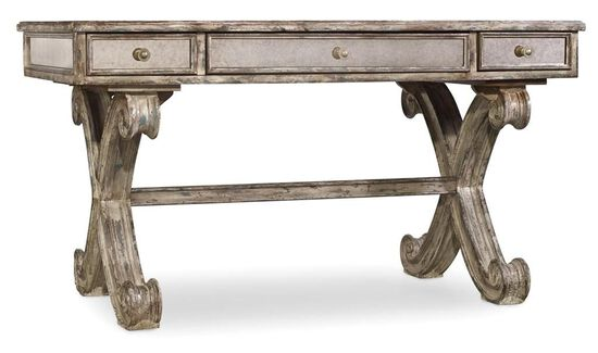 "54"" Curved X-Brace Traditional Writing Desk in Gray"