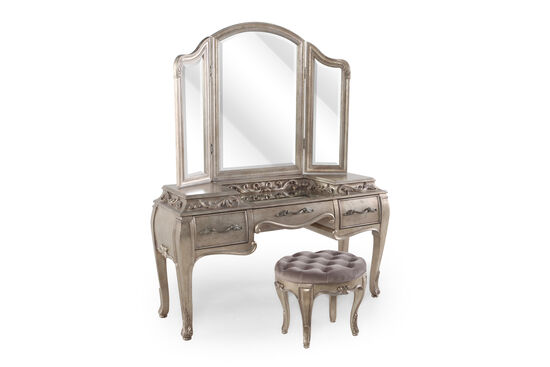 Contemporary Leaf Carved Vanity Set with Stool in Bronze