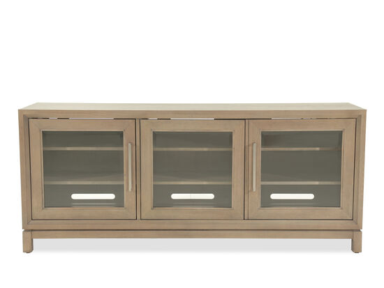 Modern Nine Shelf Entertainment Console in Light Brown