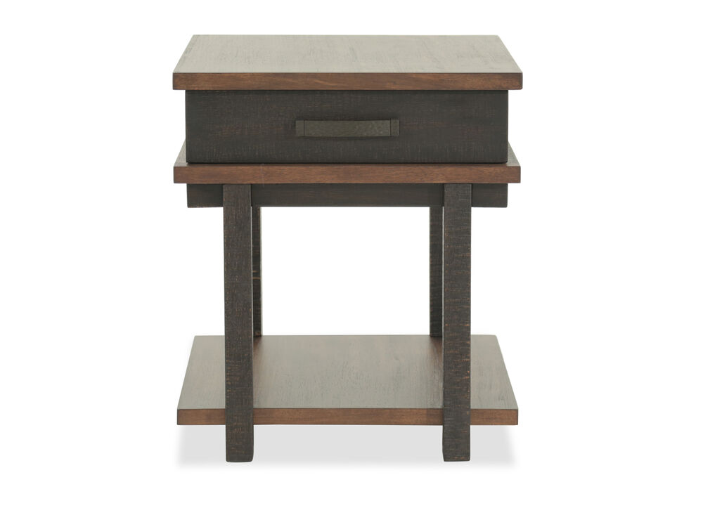 Distressed One-Drawer End Table in Dark Brown