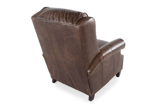 "Leather Nailhead Accented 36"" Recliner in Mahogany Brown"