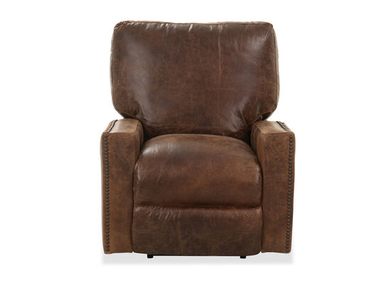 "Nailhead-Accented 39"" Power Recliner in Ancient Brown"