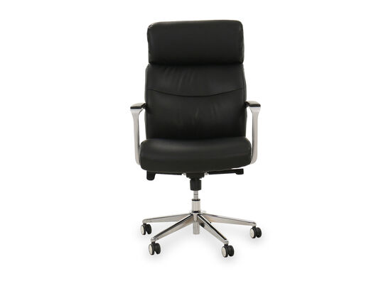 Casual Leather Executive Chair in Black