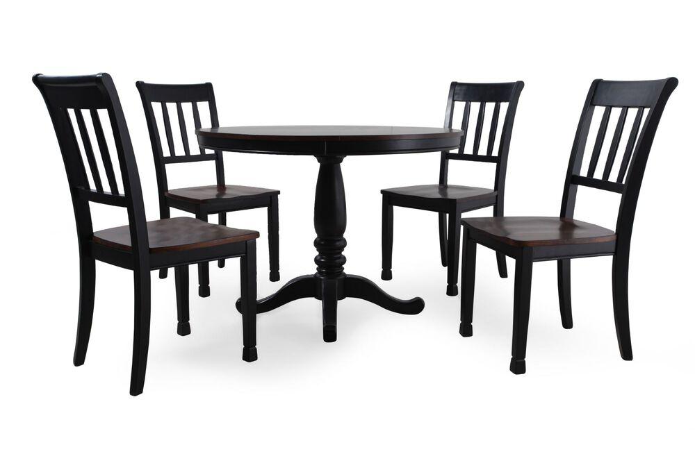 Five-Piece Casual Round 42'' Dining Set in Dark Black