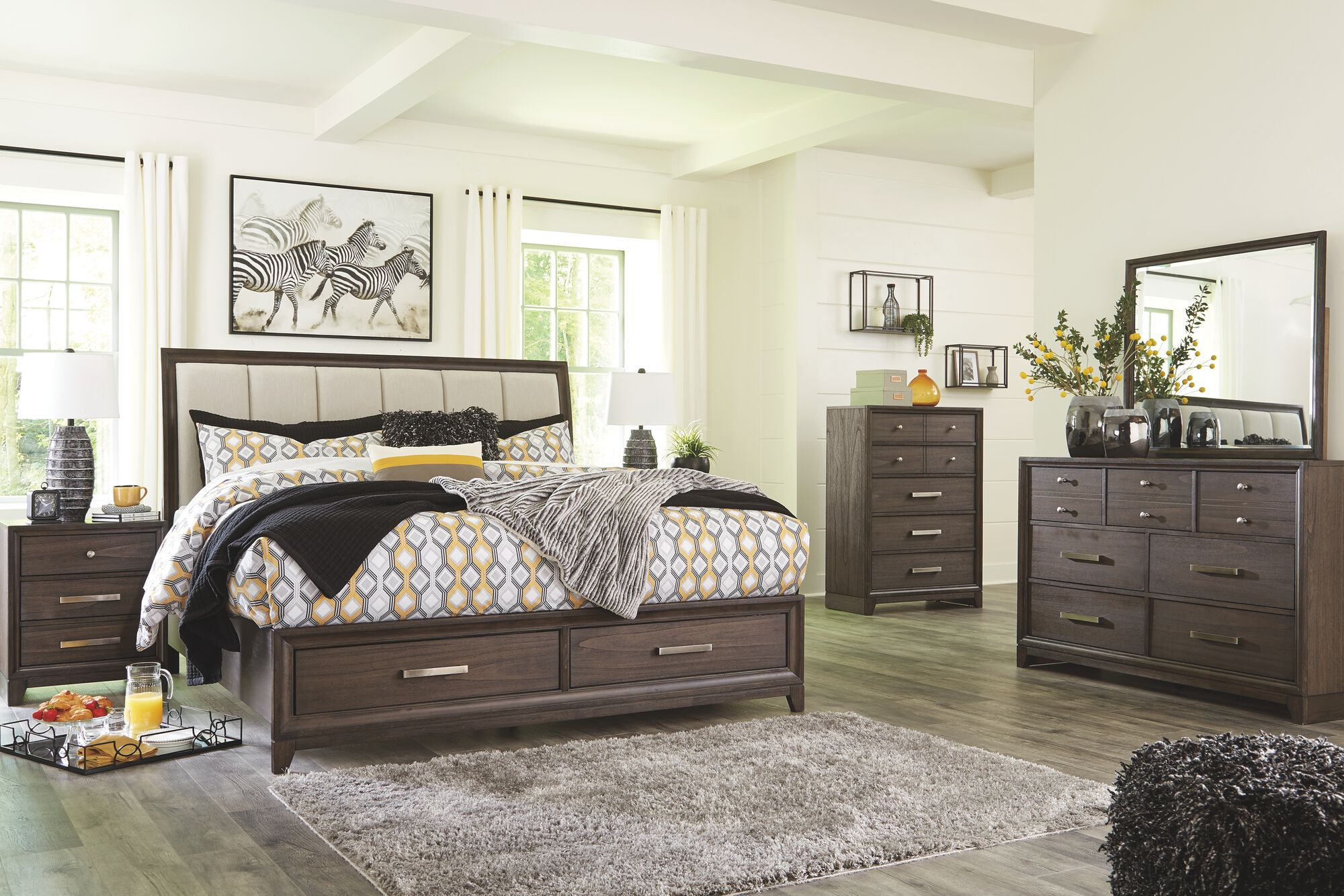 Brueban Rich Brown 8 Pc Dresser Mirror Chest King Panel Bed With 2 Storage Drawers 2 Nightstands Mathis Brothers Furniture