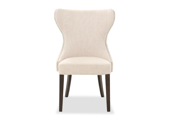 """Contemporary 24"""" Nailhead Trim Dining Chair in Beige"""