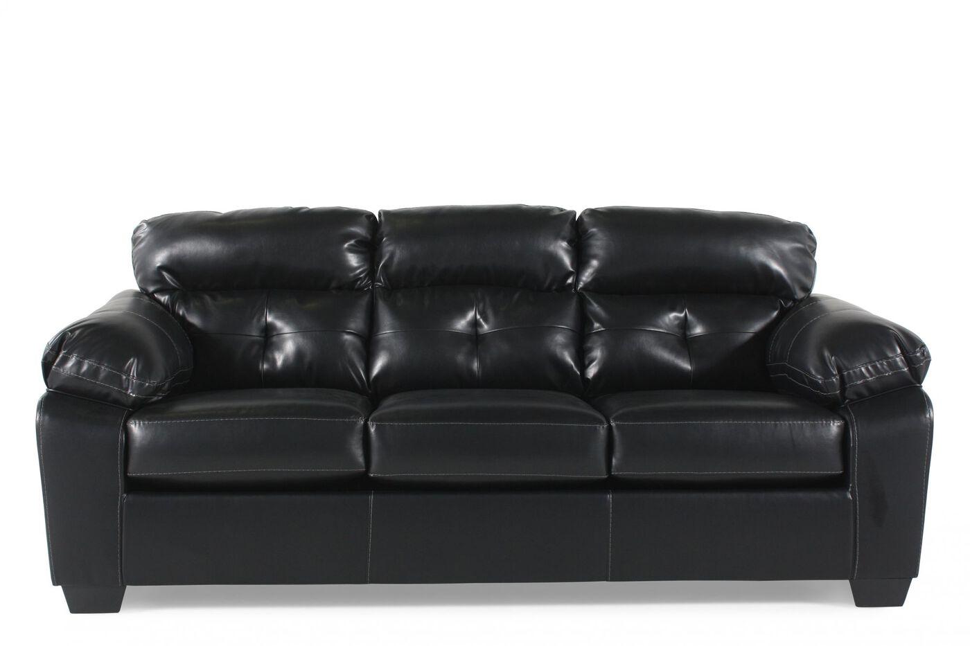 """Ashley Tufted 87"""" Sofa In Midnight Black"""