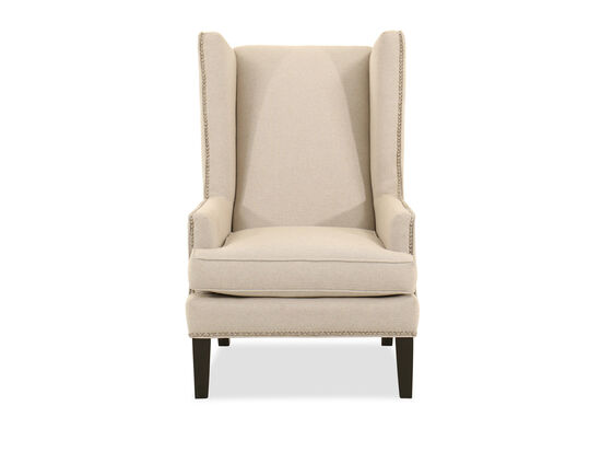 Nailhead-Trimmed Contemporary Wing Accent Chair in Beige