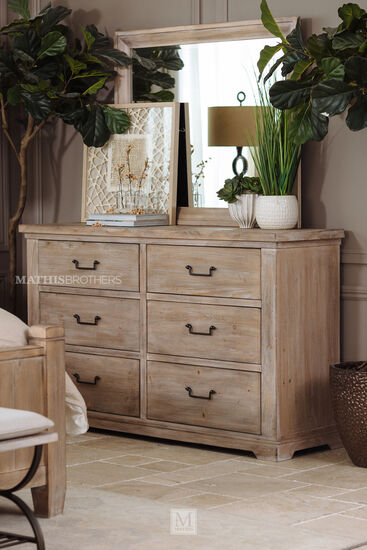 Two-Piece Casual Six-Drawer Dresser and Mirror in Cypress