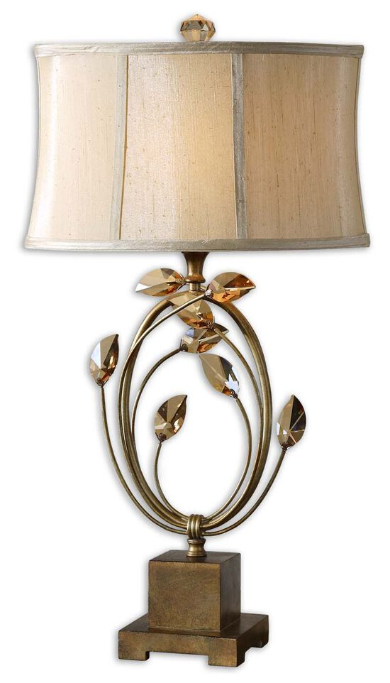 Crystal Teak Leaf-Accented Table Lamp in Gold