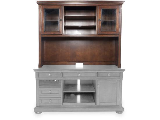 "60"" Traditional Glass-Door Credenza Hutch in Brown"
