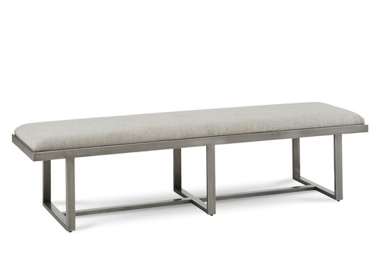 "Mid-Century Modern 68"" Narrow Bench in Cream"