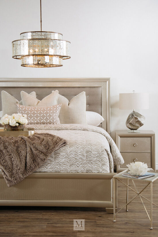 Four-Piece Transitional Crocodile-Textured Bedroom Set in Silver