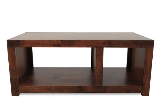 Contemporary Open-Compartment Cocktail Table in Dark Fruitwood