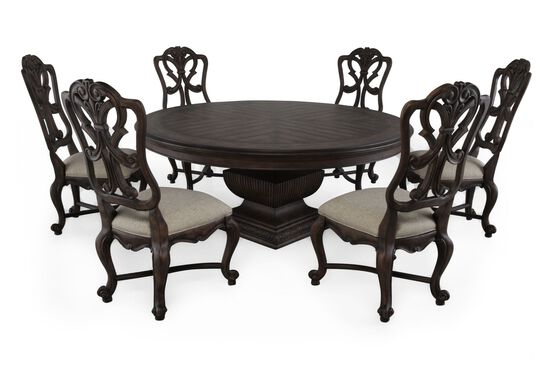 Seven-Piece Traditional 72'' Dining Set in Distressed Pecan