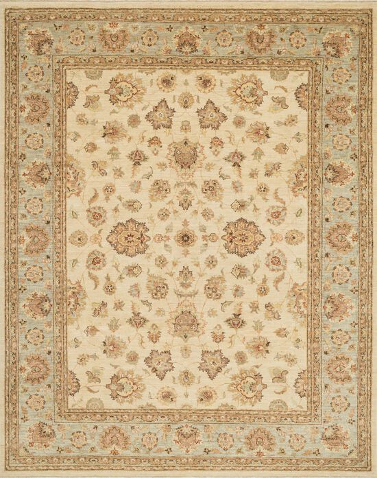 """Traditional 12'x17'-6"""" Rug in Ivory/Blue"""